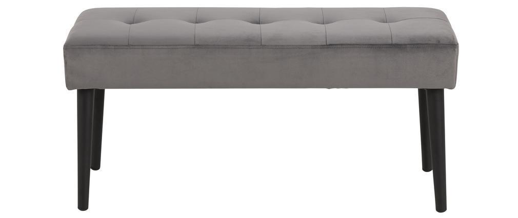 Banc design en velours gris capitonné GUESTA