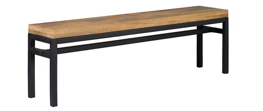 Banc industriel manguier massif et métal L140 cm YPSTER