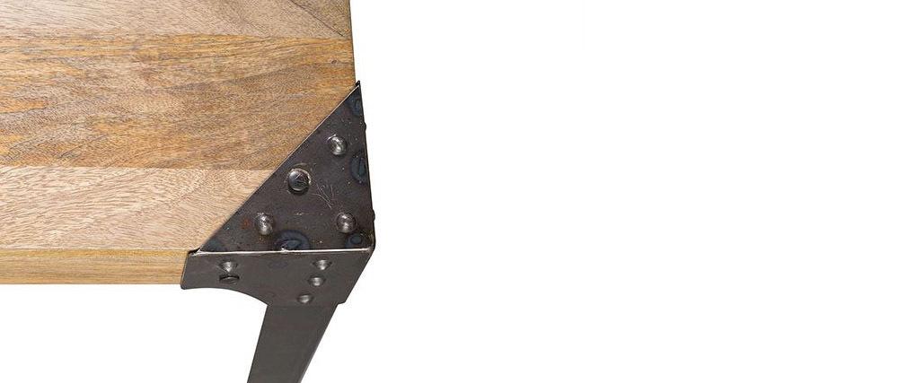 Banc industriel métal et manguier massif L180 cm MADISON