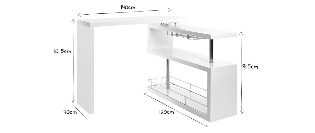 Bar design laqué blanc amovible MAX