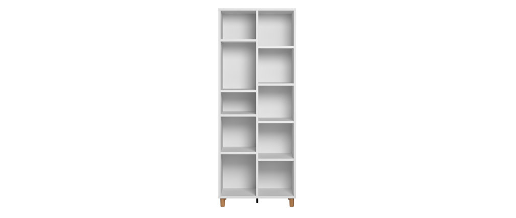 Bibliothèque scandinave blanc et bois JIM