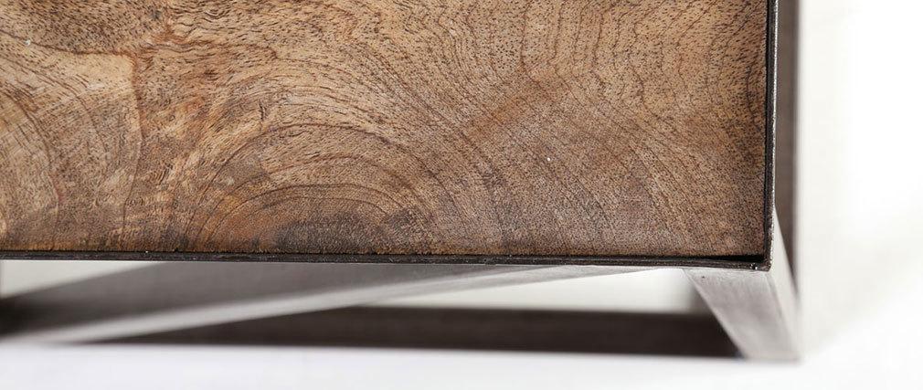 Bout de canapé bois massif et métal industriel ATELIER