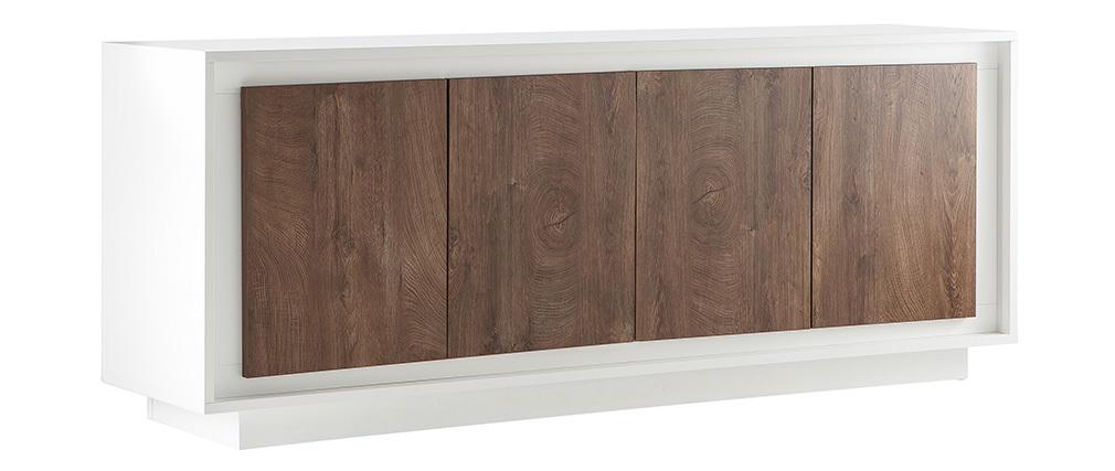 Buffet 4 portes design blanc et décor bois foncé LAND
