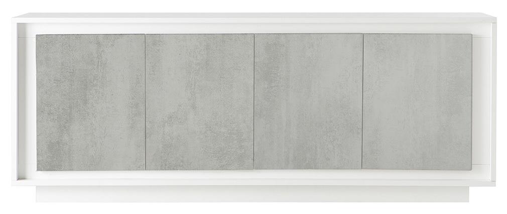 Buffet 4 portes design blanc et décor ciment LAND