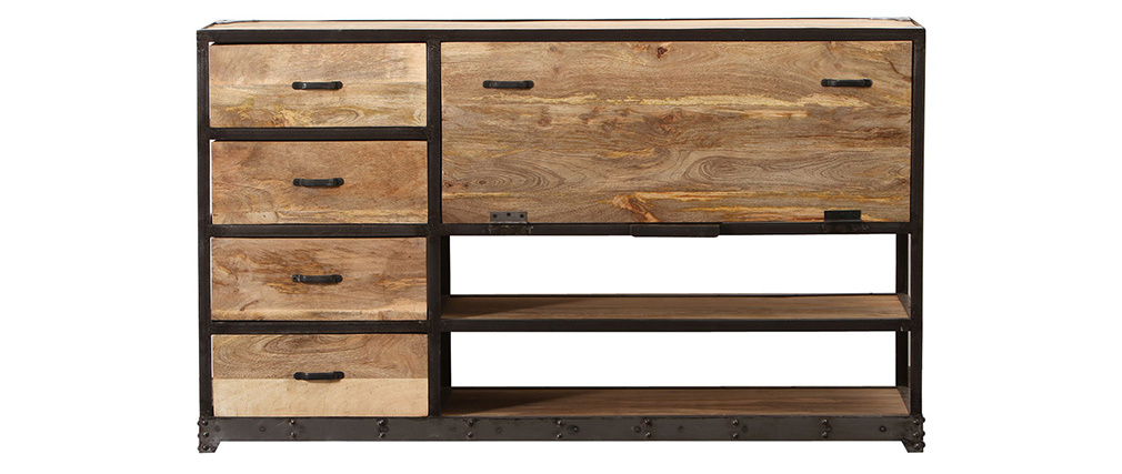 Buffet design industriel bois massif INDUSTRIA