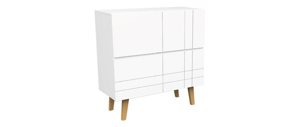 Buffet haut design laqué blanc mat et bois ADORNA