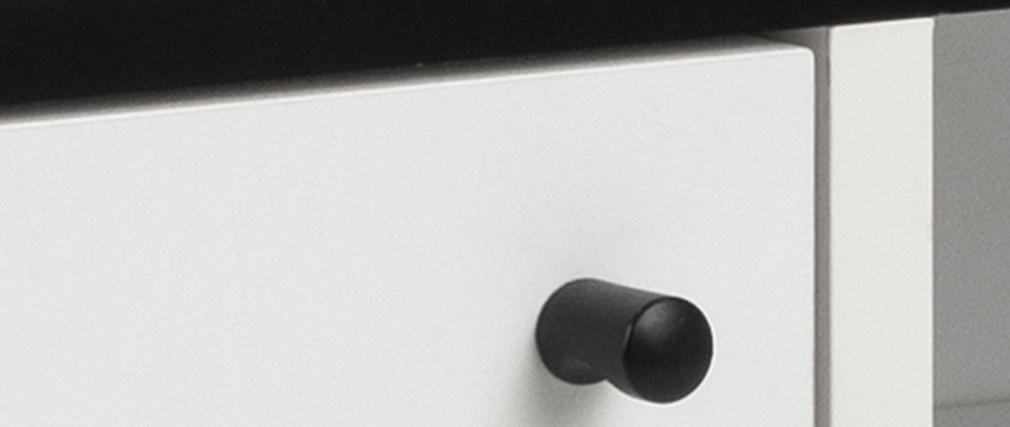 Buffet moderne noir et blanc mat L124 cm MIKKA