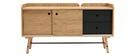 Buffet scandi japonais chêne et gris mat 2 tiroirs JAPANSK