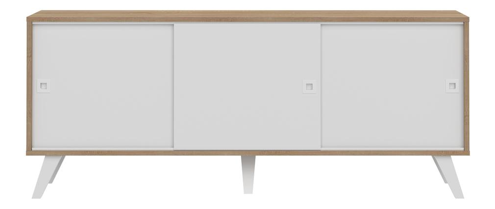 Buffet scandinave 3 portes bois et blanc ORIGAMI