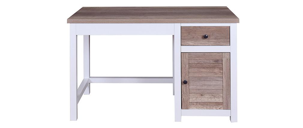 Bureau avec rangements bois et blanc PAUL