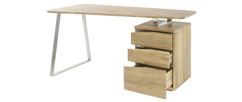 Bureau design avec rangements métal et bois L150 JANIS