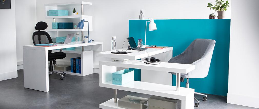 Bureau design blanc laqué amovible T-MAX