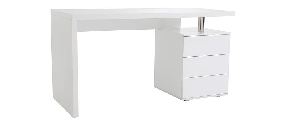 Bureau design blanc laqué brillant 3 tiroirs CALIX