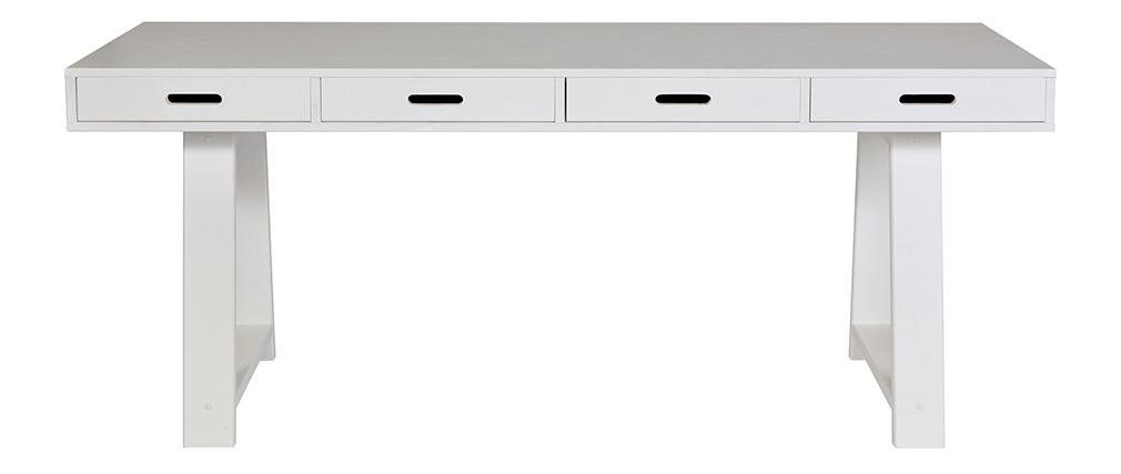 Bureau design en bois blanc cassé 4 tiroirs réversibles L178 ARCOS