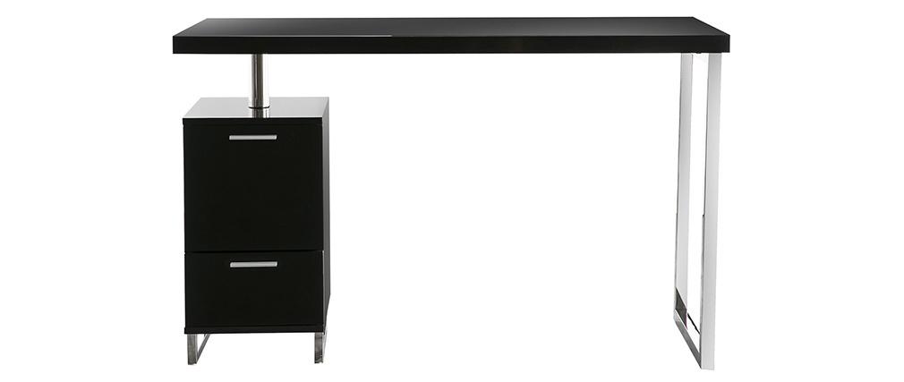 Bureau design laqué brillant noir 2 tiroirs LEXI