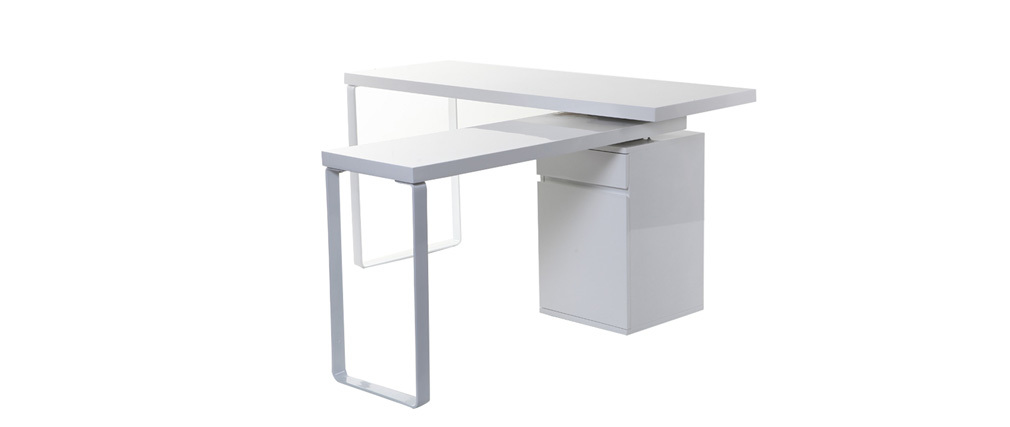 Bureau design modulable blanc brillant VOXY