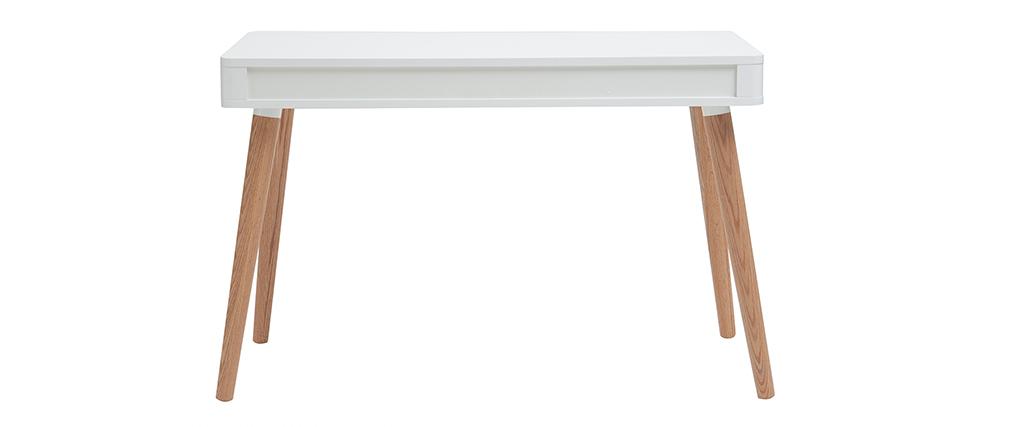 bureau design scandinave blanc et bois totem miliboo - Bureau Blanc Et Bois