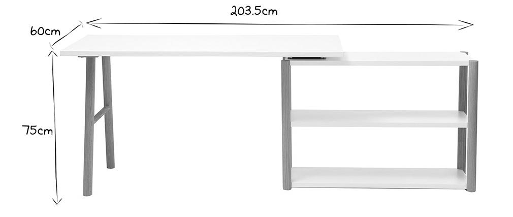 Bureau pivotant design scandinave blanc et chêne GILDA