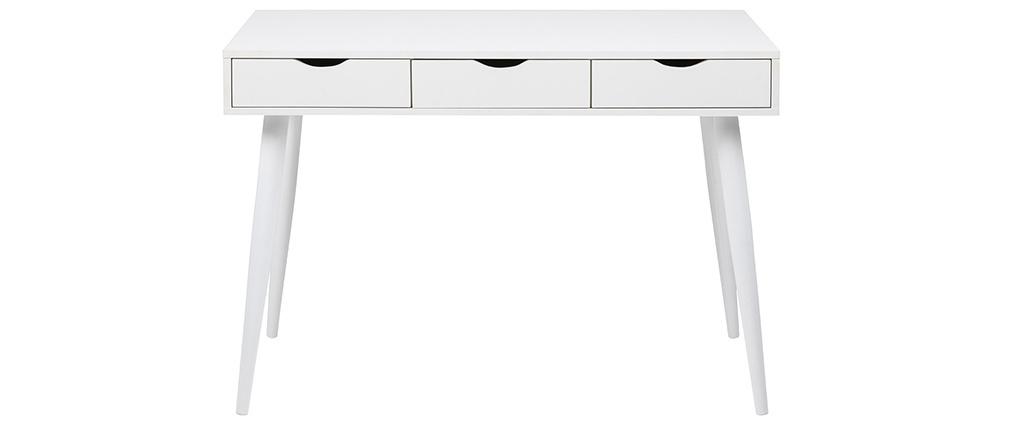 Bureau scandinave 3 tiroirs blanc mat BALZAC
