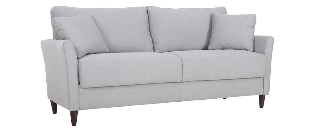 Canapé 3 places design en tissu gris clair avec rangement MEDLEY