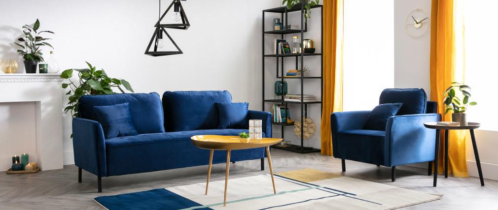 Canapé 3 places en velours bleu BEKA