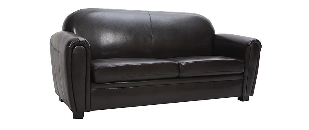 Canapé Club cuir marron foncé 3 places - cuir de vachette
