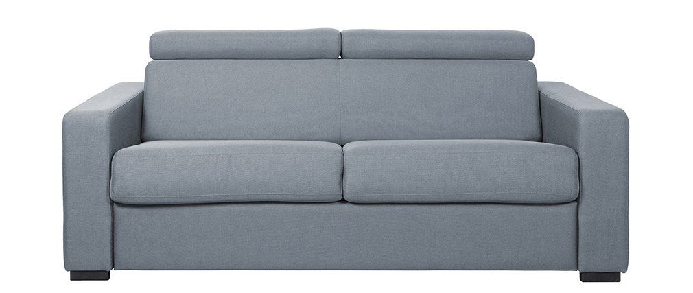 Canapé convertible 3 places avec têtières ajustables gris clair NORO