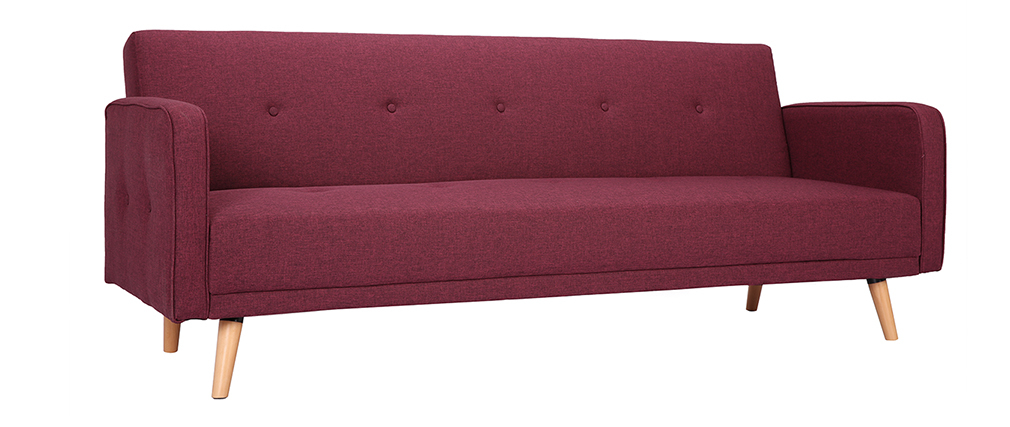 Canapé convertible 3 places design scandinave prune ULLA