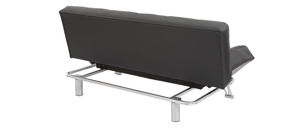 Canapé convertible 3 places en cuir noir MANHATTAN - cuir de vache
