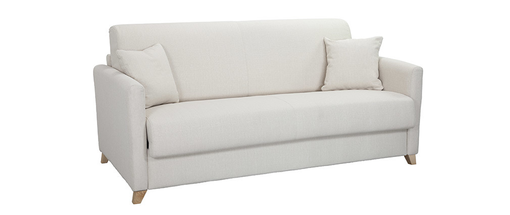 Canapé convertible 3 places scandinave beige SKANDY