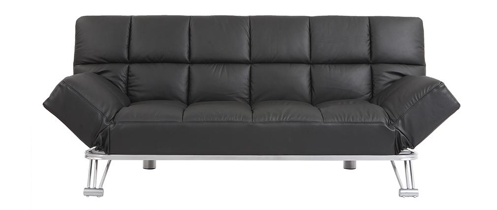 Canapé convertible cuir 3 places noir MANHATTAN - cuir de vache