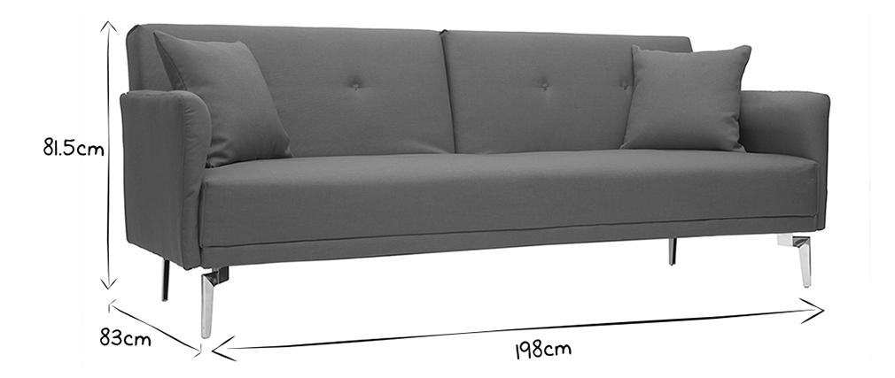 Canapé convertible design 3 places gris ELIN