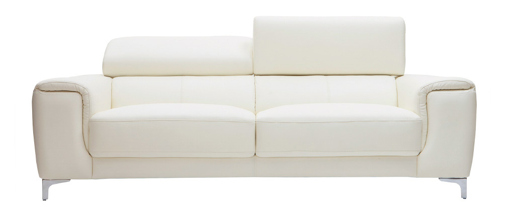 Canapé cuir design 3 places avec têtières relax blanc cassé NEVADA - cuir de buffle