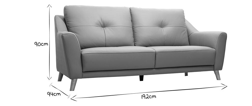 Canapé cuir design 3 places gris ARNOLD - cuir de buffle