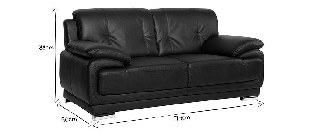 Canapé cuir design noir 2 places TAMARA - cuir de vache