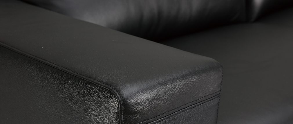 Canapé cuir design noir trois places têtières relax noir ARIZONA - Cuir de vachette