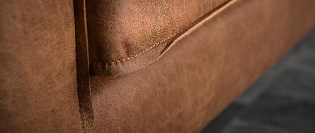 Canapé cuir vintage camel 3 places ASPEN - cuir de vache reconstitué