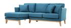 Canapé d'angle gauche scandinave bleu canard déhoussable OSLO