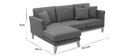 Canapé d'angle gauche scandinave en tissu gris foncé déhoussable OSLO