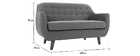 Canapé design 2 places déhoussable gris anthracite YNOK