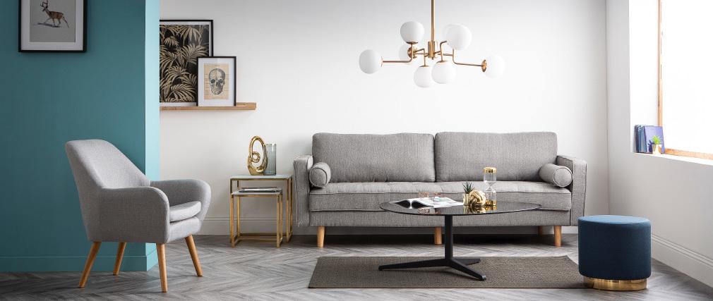 Canapé design 3 places en tissu gris clair IMPERIAL