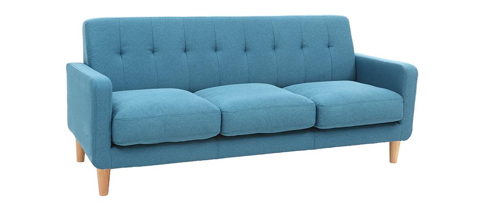 Canapé design scandinave tissu bleu canard 3 places LUNA