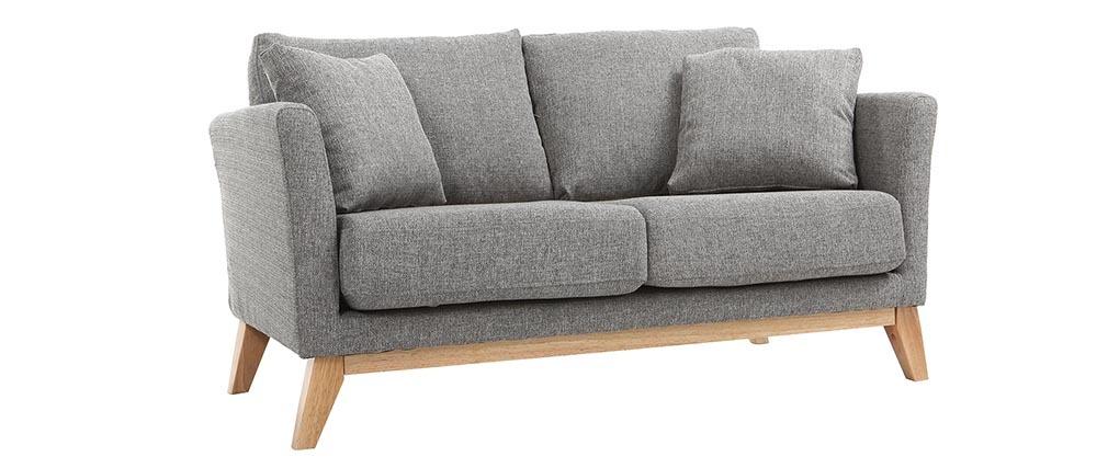 Canapé scandinave 2 places déhoussable gris clair et bois OSLO