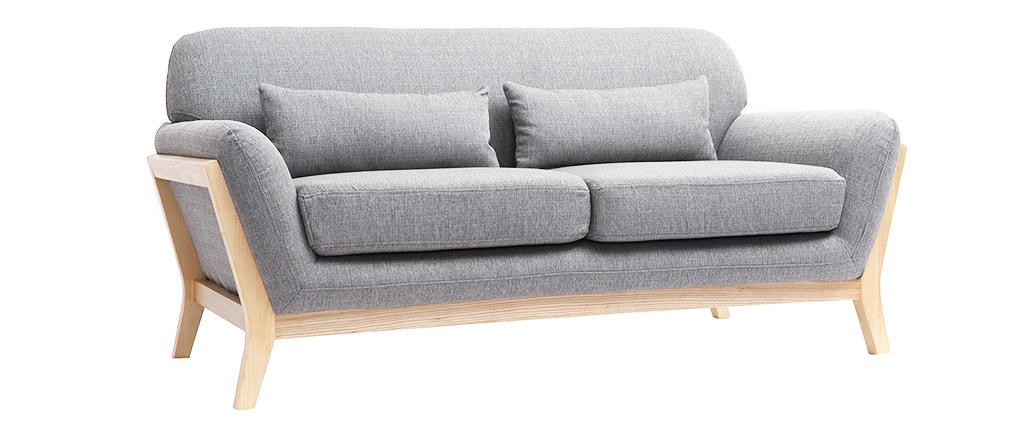 Canapé scandinave 2 places gris pieds bois YOKO