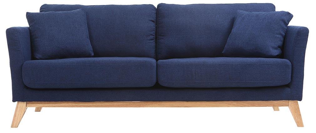 Canapé scandinave 3 places bleu foncé déhoussable pieds bois OSLO
