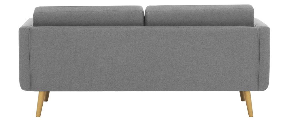 Canapé scandinave 3 places en tissu gris clair et bois ELFE