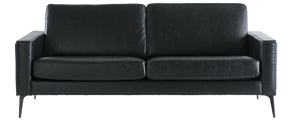 Canapé vintage noir 3 places RICCI