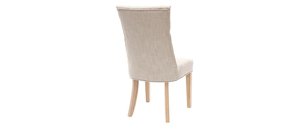 Chaise classique tissu naturel pied bois clair VOLTAIRE