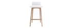 Chaise de bar scandinave 65 cm bois et blanc BALTIK