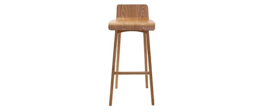 Chaise de bar scandinave 75 cm bois naturel BALTIK
